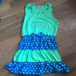 Blue/Green polka dot dress